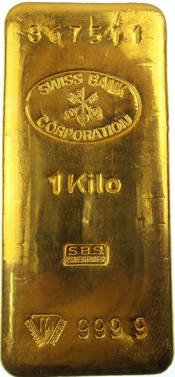 Swiss Bank Corporation Gold Bar 1 Kg