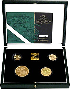 United Kingdom Gold Sovereign 2001 4 coin set - Proof - 2 oz