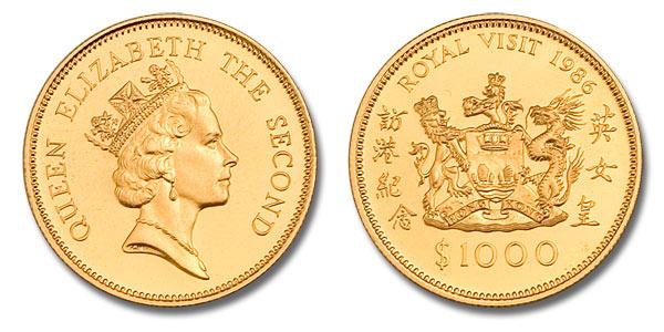 Hong Kong Royal Visit Gold Coin 1986 0 47 Oz