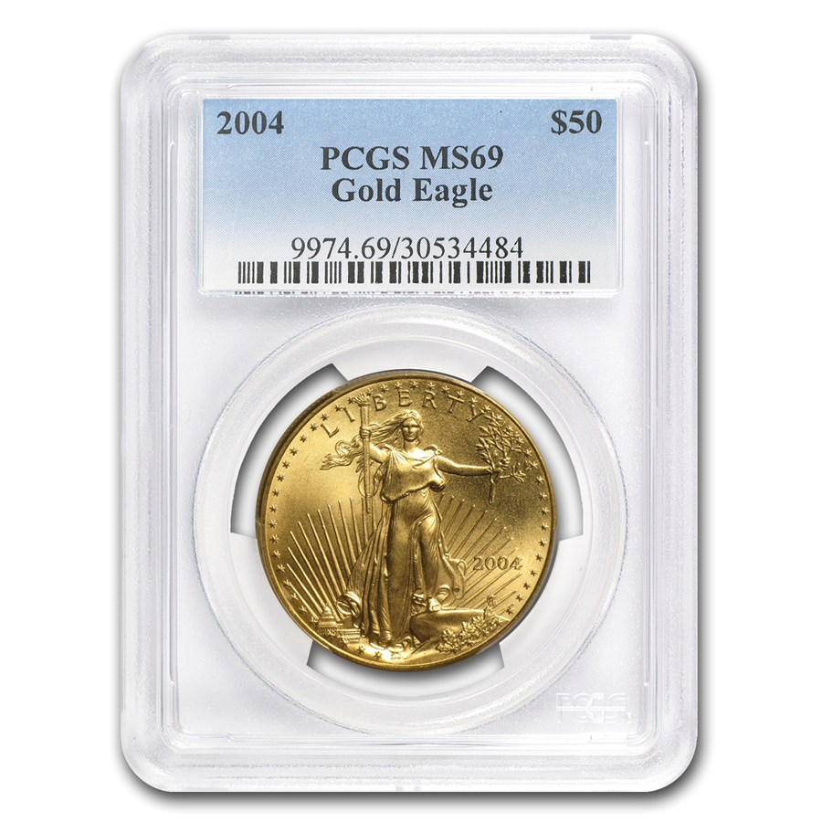 American Gold Eagle 2004 Graded Ms 69 By Pcgs 1 Oz