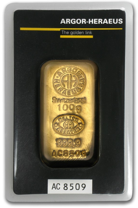 Argor Heraeus Gold Cast Bar 100 G