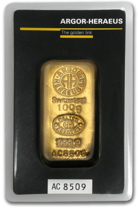 Argor Heraeus Gold Cast Bar 100 G