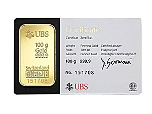 UBS Gold Bar - Circulated in good condition - 100 g