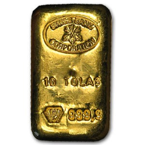 Swiss Bank Corporation Gold Bar Circulated In Good