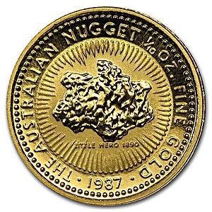 Australian Gold Kangaroo Nugget 1987 1 10 Oz