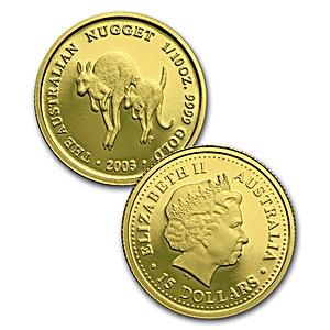 Australian Gold Kangaroo Nugget 2003 Proof 1 10 Oz