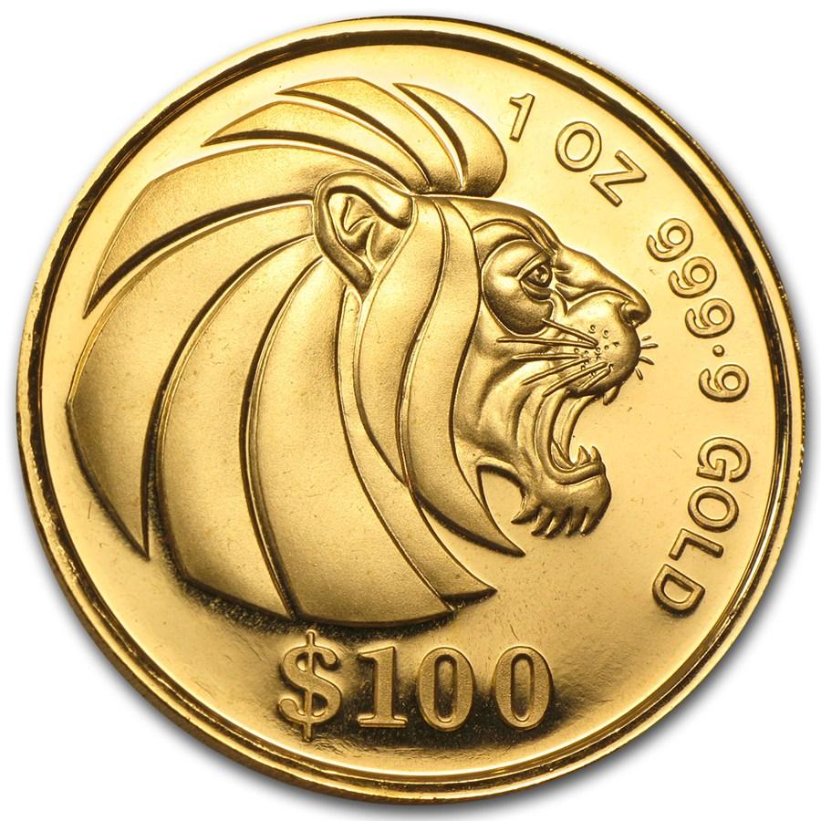 Singapore Gold Lion 1992 1 Oz