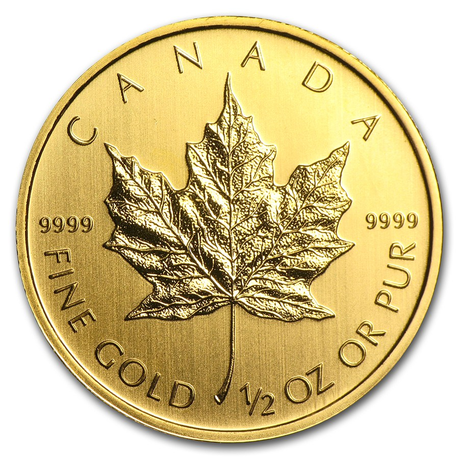 Canadian Gold Maple Various Years 1 2 Oz