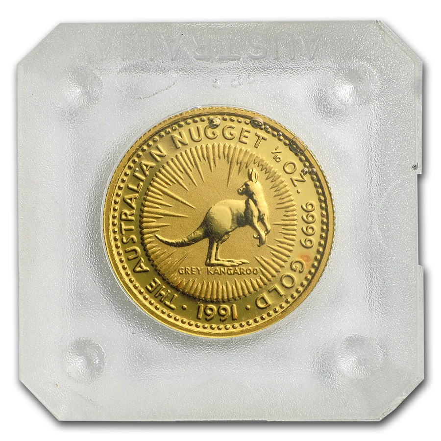 Australian Gold Kangaroo Nugget 1991 1 10 Oz