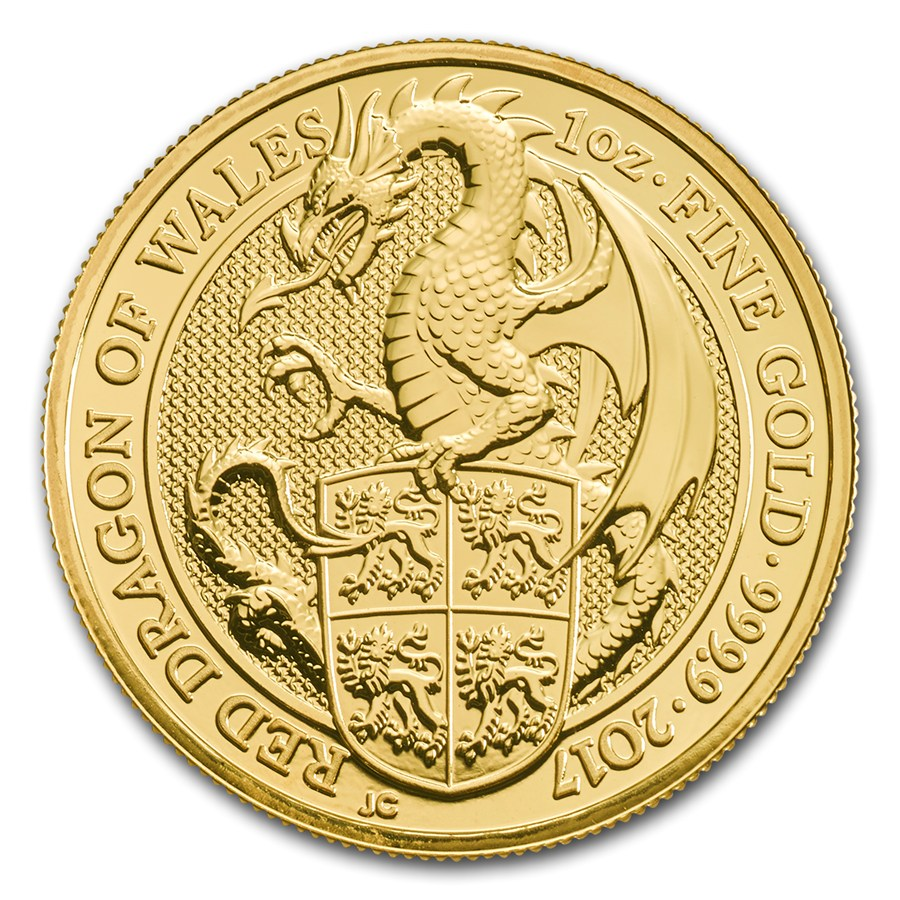 United Kingdom Gold Queen S Beast 2017 Dragon 1 Oz