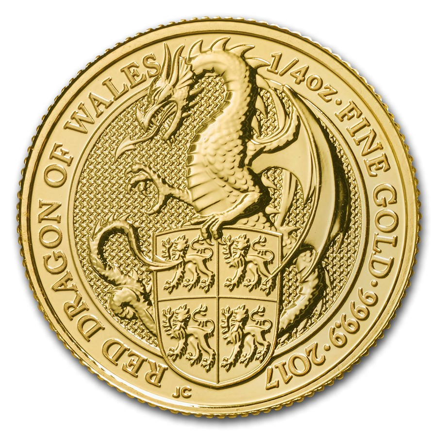 United Kingdom Gold Queen S Beast 2017 Dragon 1 4 Oz