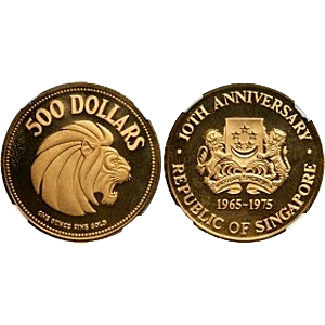 Singapore Mint 10th Anniversary Of The Republic Of