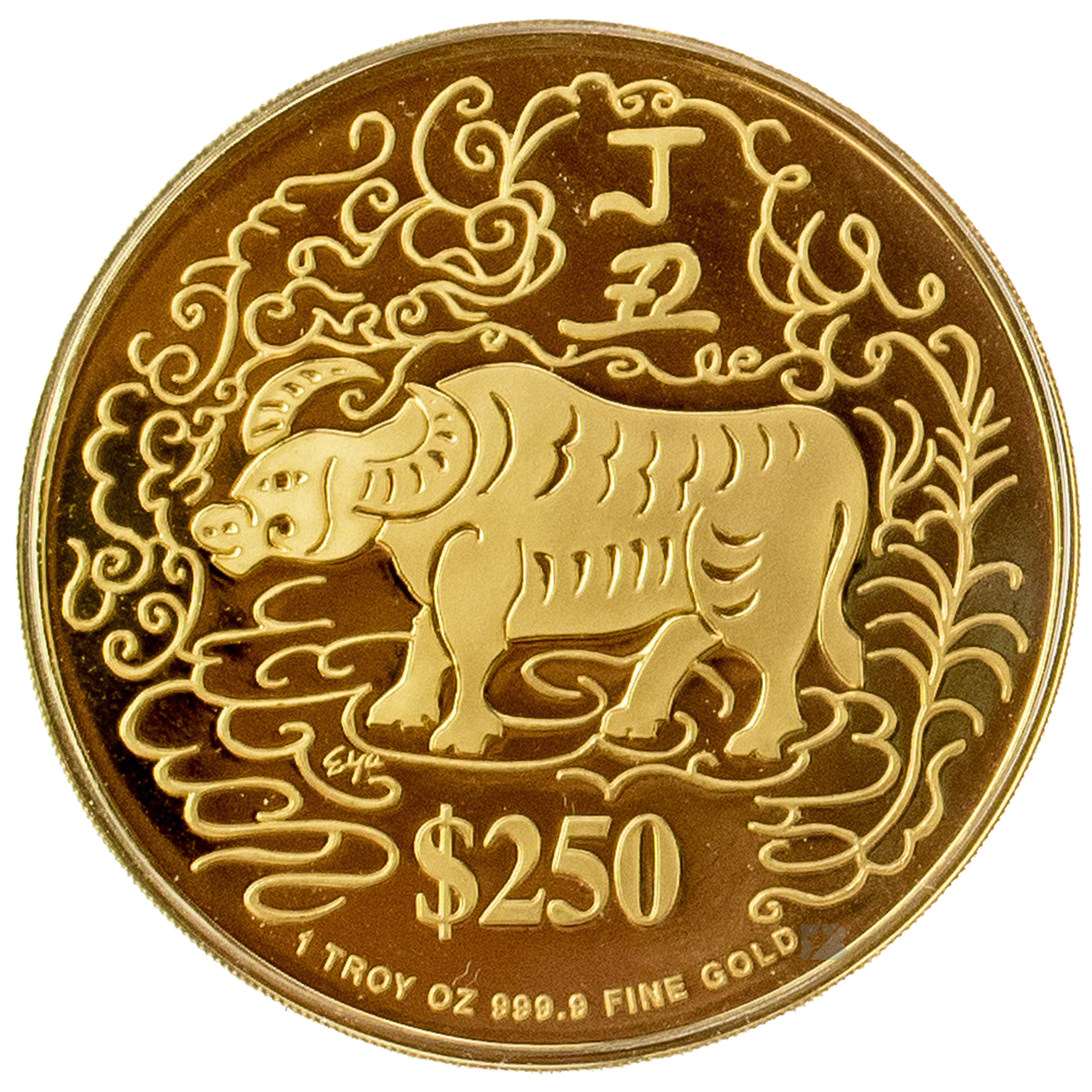 Singapore Mint Gold Ox 1997 With Box And Coa 1 Oz