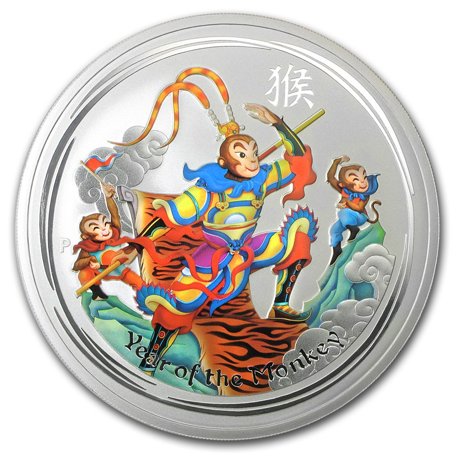 Australian Silver Monkey King 2016 5 Oz Colorized