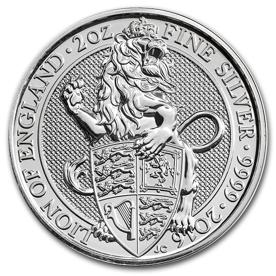 United Kingdom Silver Queen S Beast 2016 The Lion 2 Oz