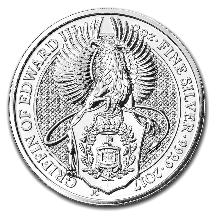 United Kingdom Silver Queen S Beast 2017 Griffin 2 Oz