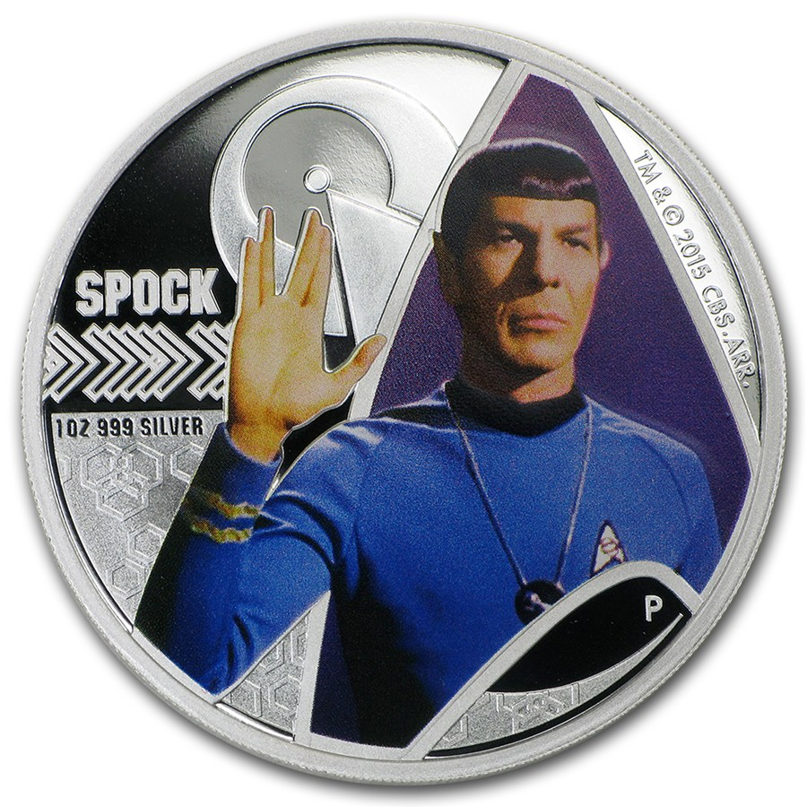 Tuvalu 2015 Silver Star Trek Series Spock 1 Oz